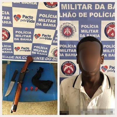 Na condicional por roubo, jovem invade casa, ameaça familiares com uma arma e é preso pela PM em Alagoinhas
