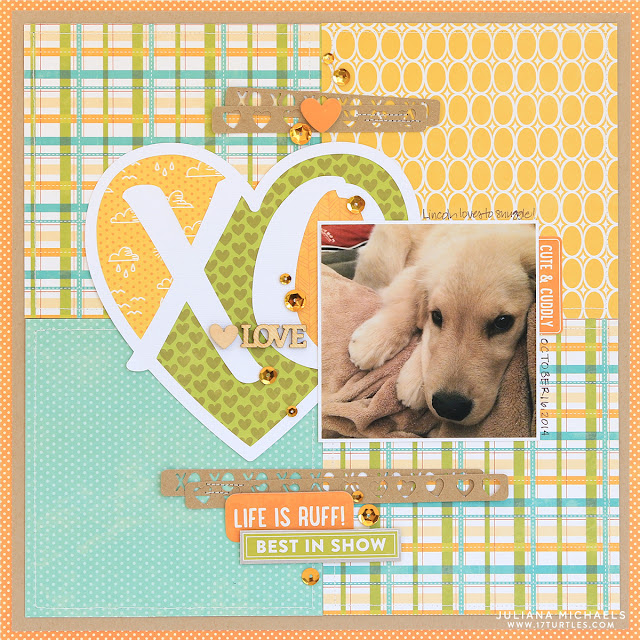 XO Dog Scrapbook Page featuring Hashtag Love Free Digital Cut by Juliana Michaels and Jillibean Soup Mushroom Medley