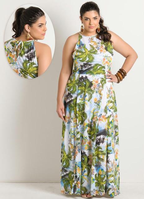Vestido Longo Estampa Folhas Plus Size