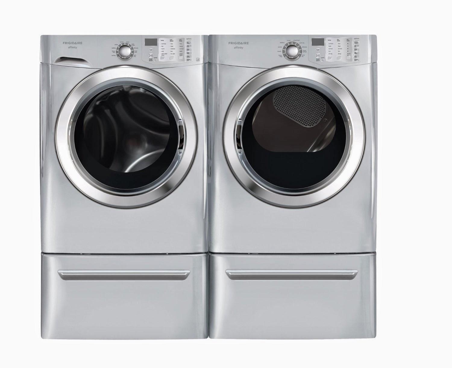 Frigidaire Affinity Silver 3 8 Cf Front Load Steam Washer 7 0 Gas Dryer Laundry Set With Pedestals