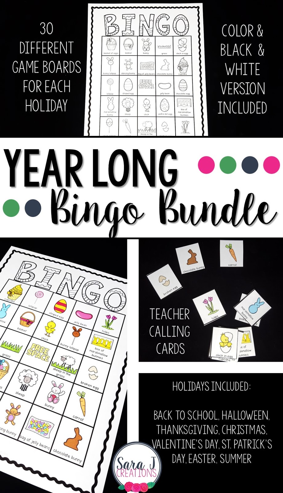 Bingo cards for the whole year!  Includes 8 different sets - Back to School, Halloween, Thanksgiving, Christmas, Valentine's Day, St. Patrick's Day, Easter and Summer.  Play and have fun all year long with these quick and easy to use printables.