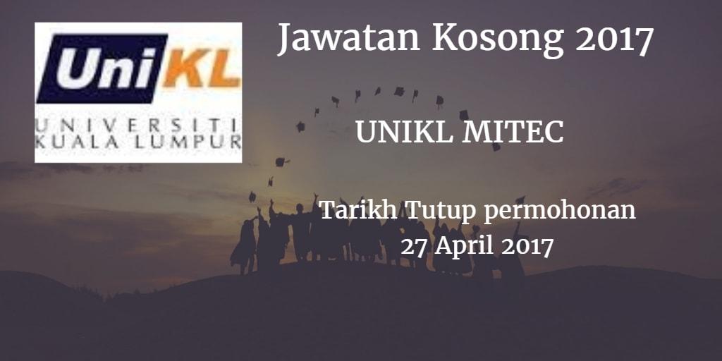 Jawatan Kosong UniKL MITEC, Bandar Seri Alam Johor 27 April 2017