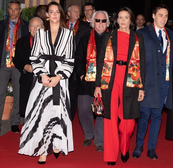 Princess Stephanie of Monaco, Pauline Ducruet, Louis Ducruet and his wife Marie Ducruet. red one-shoulder jumpsuit half sleeve