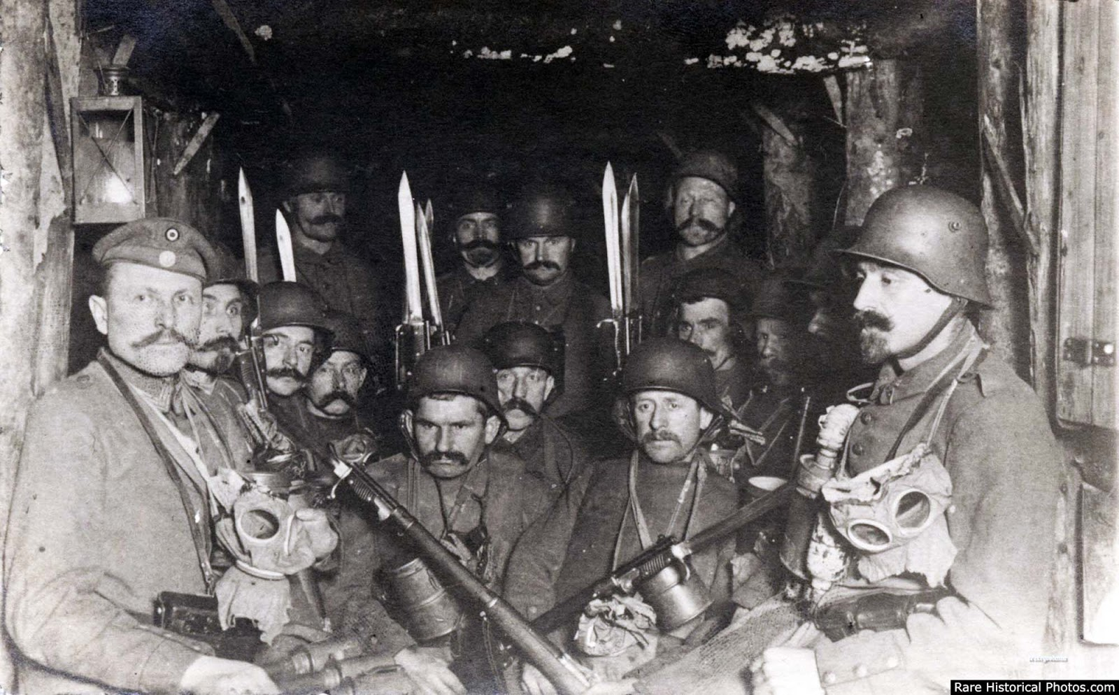 German soldiers in a dug out waiting for an enemy artillery barrage to lift, 1917.