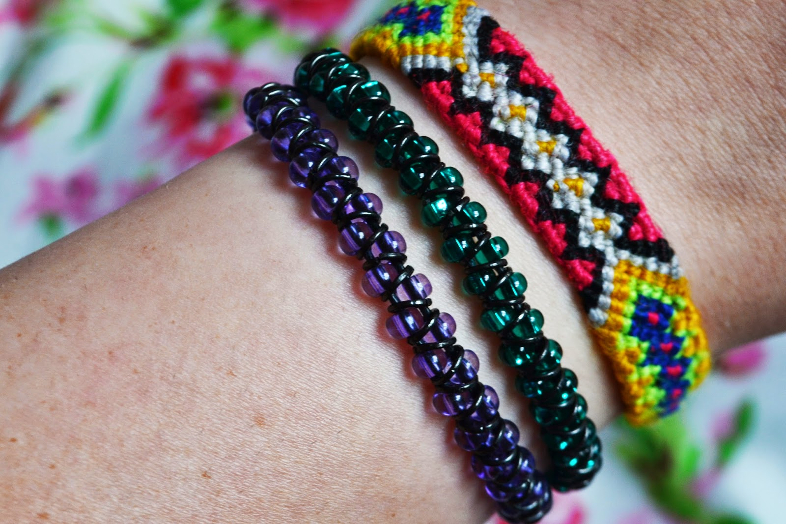 WEARING THE COMPLETED SEED BEAD AND JUMP RING BRACELET