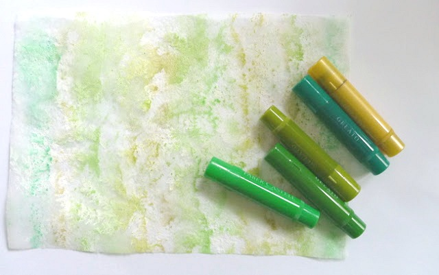 Gesso Stamped Dryer Sheet Colored with Green Gelatos