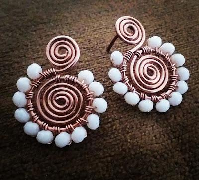 Copper Wire Ear Rings, Copper Jewelry, Wire Wrapped Jewellery