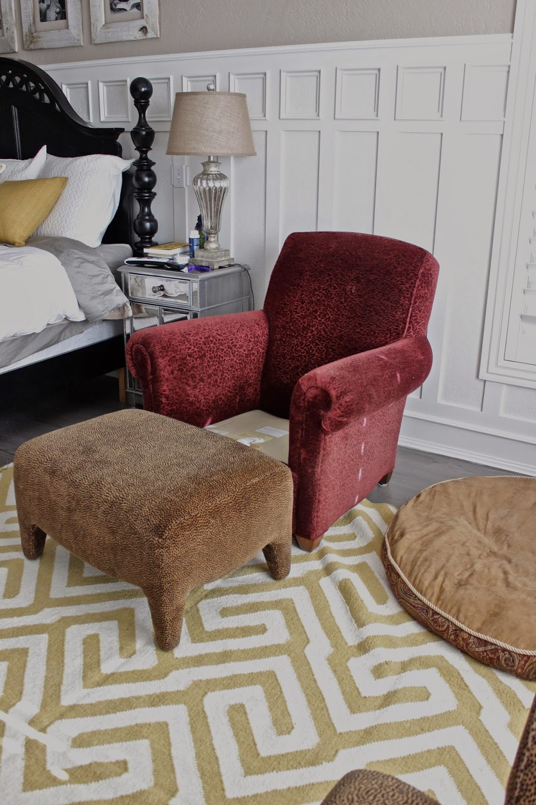 bedroom chair with ottoman graco high pink and brown custom slipcovers by shelley gray yellow