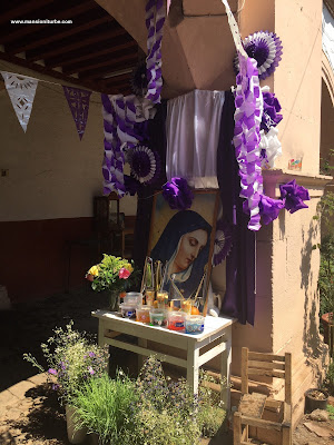 Altar of Lady of Sadness in Easter at the Palace of Huitziméngari in Pátzcuaro