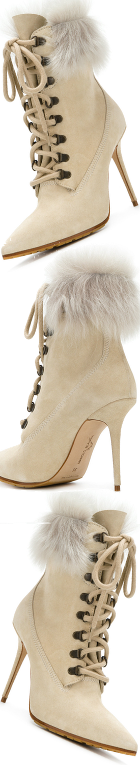 Rihanna x Manolo White Suede Lace-up Ankle Boots