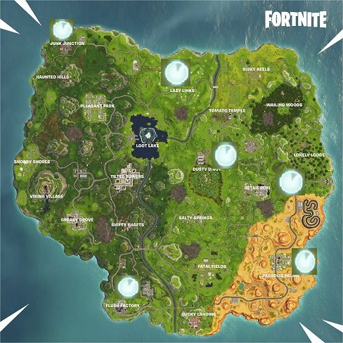 Vehicle Time Trial Locations Map Fortnite Season 6