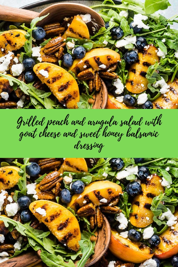 grilled peach and arugula salad with goat cheese and sweet honey balsamic dressing #salad #vegetarian #glutenfree #paleo