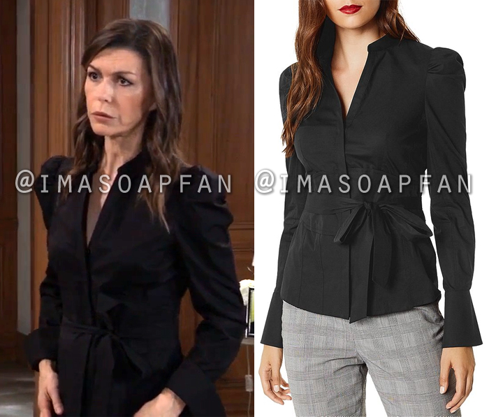 Anna Devane, Finola Hughes, Belted Black Blouse with Puffed Sleeves, General Hospital, GH