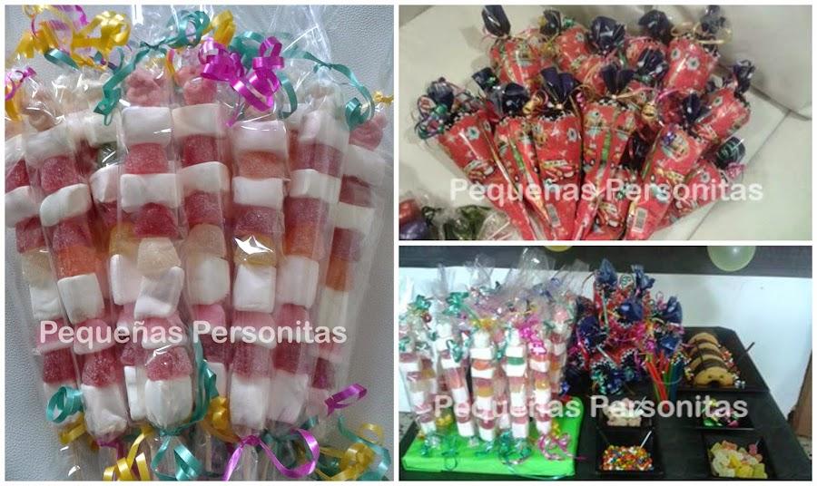 Brochetas de chuches, bolsas de cumpleaños, candy bar