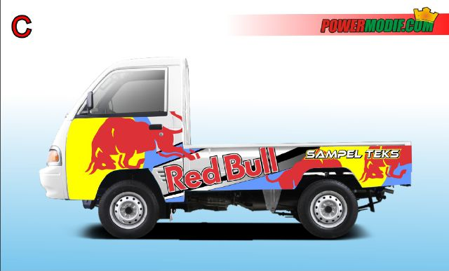 Stiker mobil Carry pick up tema red bull