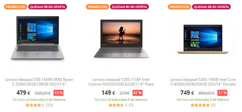 Top 10 productos Lenovo Ofertas especiales PcComponentes
