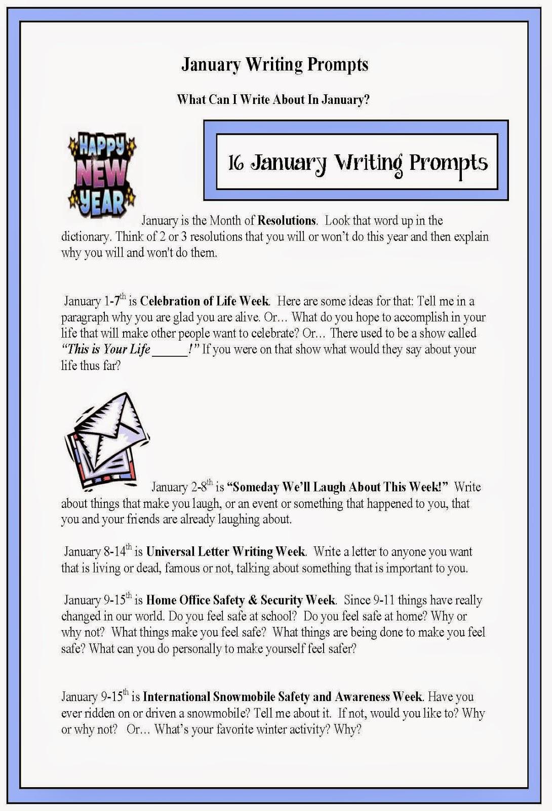 Classroom Freebies January Writing Prompts