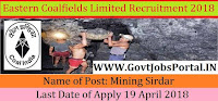 Eastern Coalfields Limited Recruitment 2018 – 117 Mining Sirdar