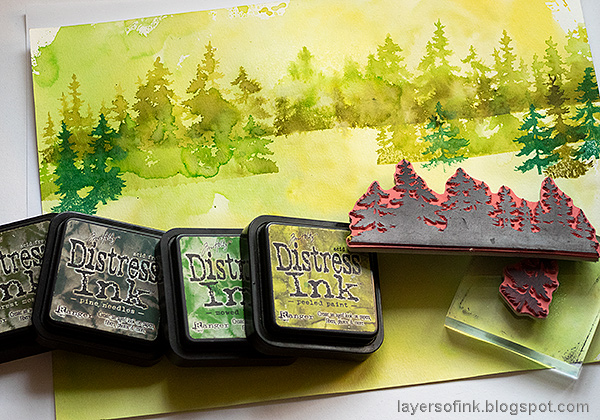 Layers of ink - Forest Layout by Anna-Karin Evaldsson. With stamps by Tim Holtz.