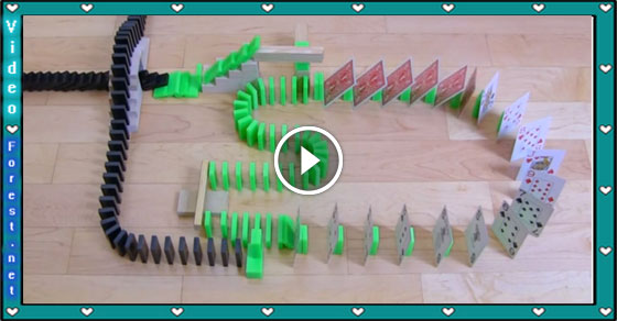 Domino effects with different objects, very interesting video