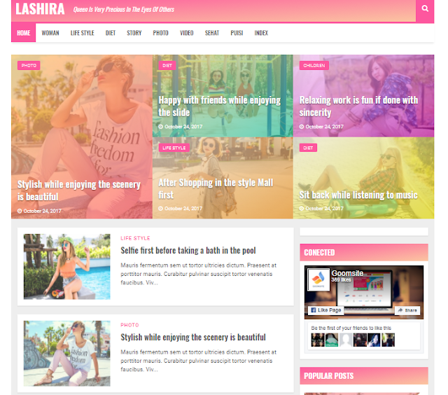 blogger template optimized for your spider web log Free Download Lashira Blogger Template