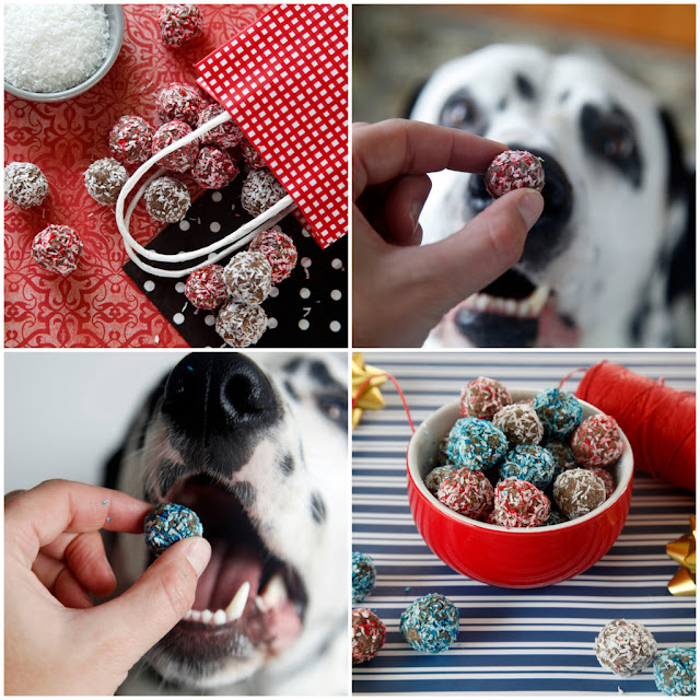 No-Bake Red White and Blue Dog Treats - Homemade Dog Treat Recipe for Festive Coloured Coconut Banana Truffles