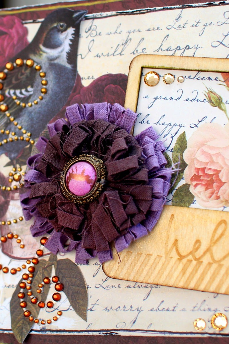 Hello Card by Ilene Tell using BoBunny Rose Cafe Collection detail
