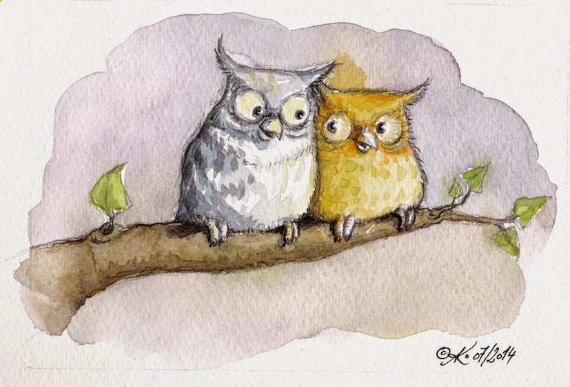 children's book illustration, owls, love, Eulen, kinderbuchillustration, Vögel