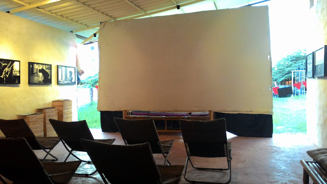 Movie Night Projector Screen and Chairs