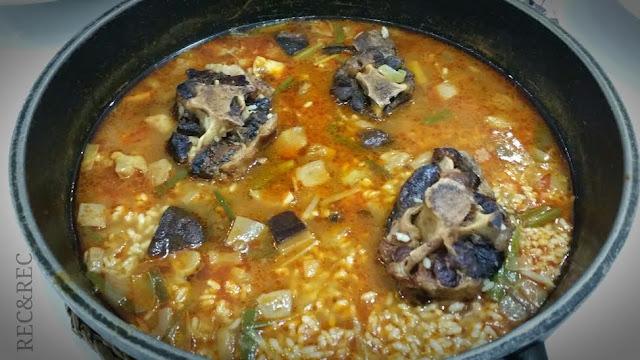 arroz meloso con rabo de toro y setas