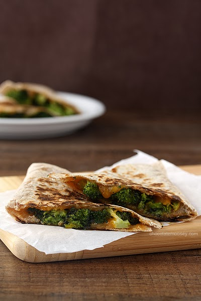 Roasted Broccoli and Cheese Quesadillas from www.chocolatemoosey.com