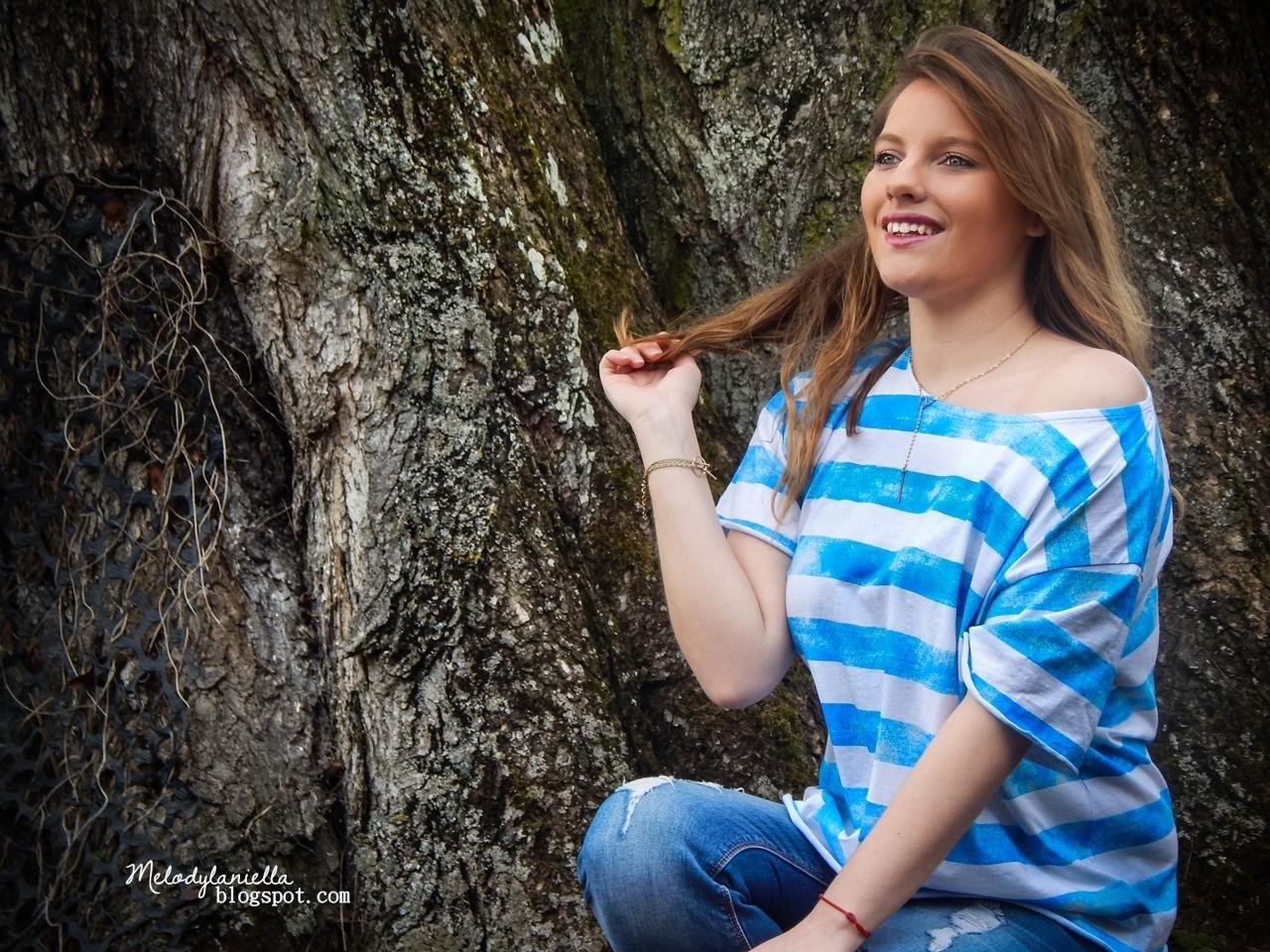 bluzka w paski niebieska bonprix tshirt koszulka zakupy haul moda fashion style