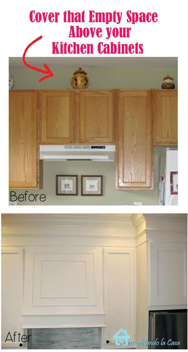 Closing the Space above the Kitchen Cabinets - Remodelando la Casa on kitchen shelves instead of cabinets, above kitchen cupboard decorating with antiques ideas, small kitchen ideas with oak cabinets, above kitchen window trim, above kitchen sinks,