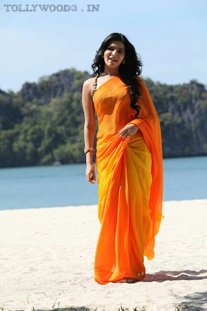 Samantha Ruth Prabhu Hot Orange Saree HD Photos and Stills