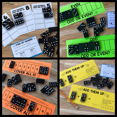 Use dominoes as a fun way to practice math skills such as addition, number recognition, subitizing and odd/even numbers