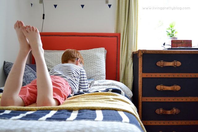 Boy Reading - Blue Red Mint Kids Room - Shared Kids Room Reveal - One Room Challenge