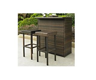 Crosley 3-Piece Palm Harbor Wicker Bar Set, Crosley Wicker Bar Set, Outdoor Furniture, Outdoor Living, Patio Furniture, Wicker Bar Set,