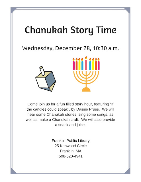 Franklin Library: Chanukah Story Time - Dec 28 - 10:30 AM