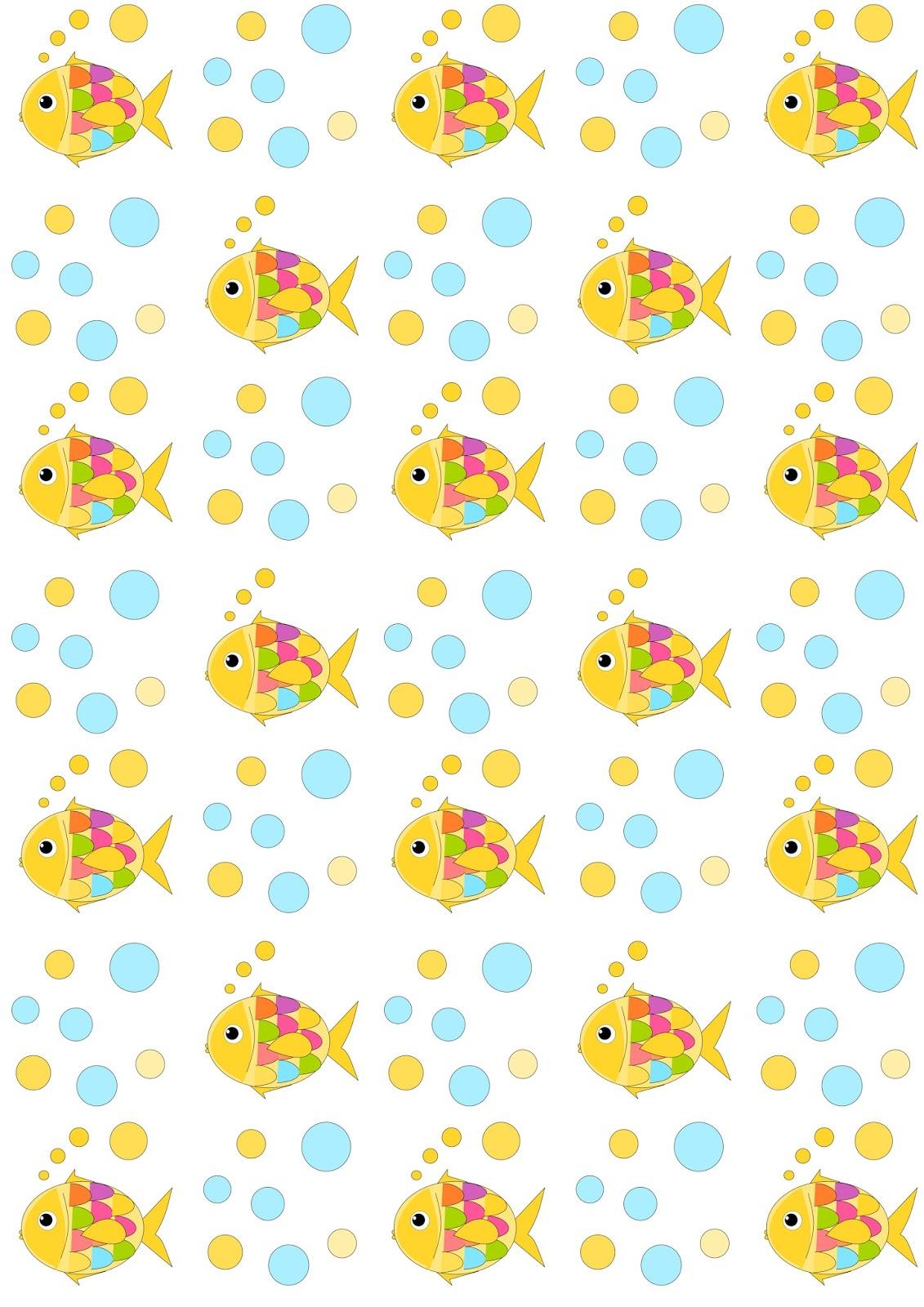 free digital nautical scrapbooking paper fish and bubbles