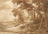 Landscape with Figures by Claude Gellee - Landscape Drawings from Hermitage Museum