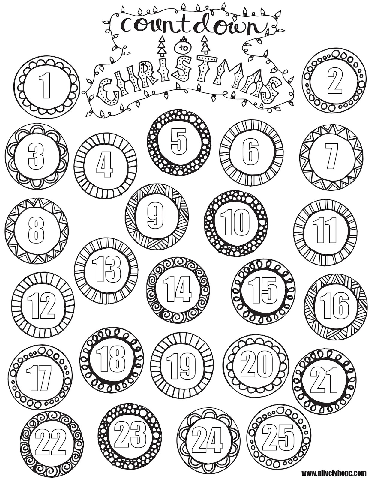 A Lively Hope Countdown To Christmas Coloring Page Countdown Coloring Pages