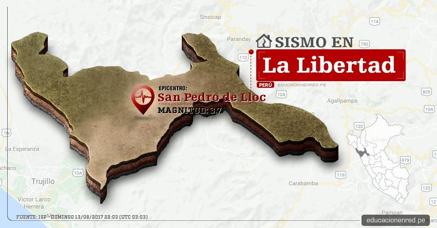 Temblor en La Libertad de 3.7 Grados (Hoy Domingo 13 Agosto 2017) Sismo EPICENTRO San Pedro de Lloc - Pacasmayo - IGP - www.igp.gob.pe