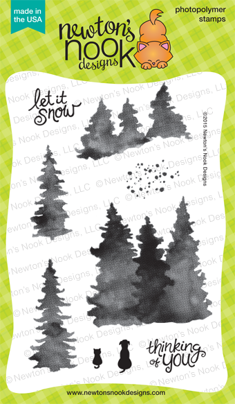 Whispering PInes 4x6 photopolymer stamp set by Newton's Nook Designs #newtonsnook
