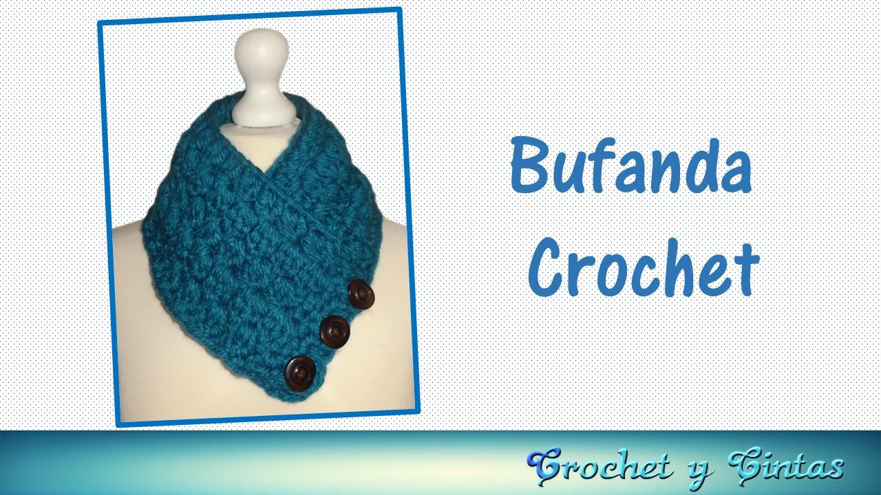 Bufanda cuello tejida a crochet (ganchillo) ~ Crochet y Cintas