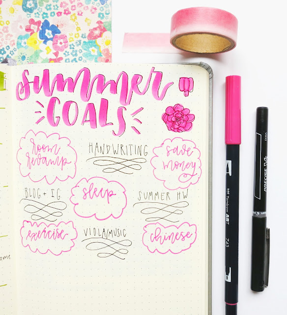bullet journal summer goals spread