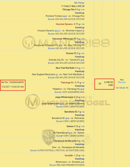 Slip Parlay IBCBET / Maxbet member mandiri88
