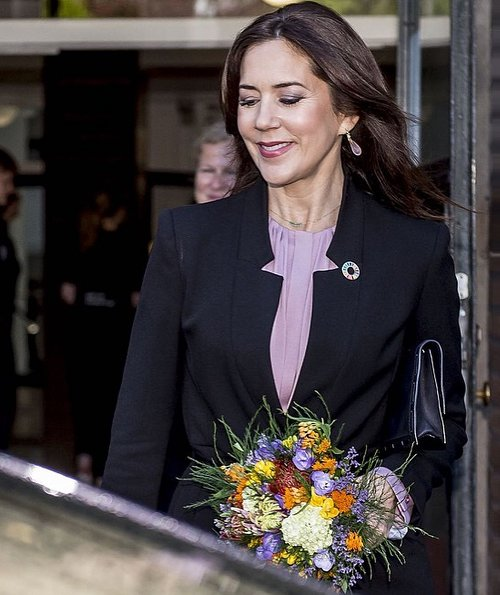 Crown Princess Mary wore Zara frock coat, Boss banora silk blouse, Valentino qockstud pumps, Dulong earrings