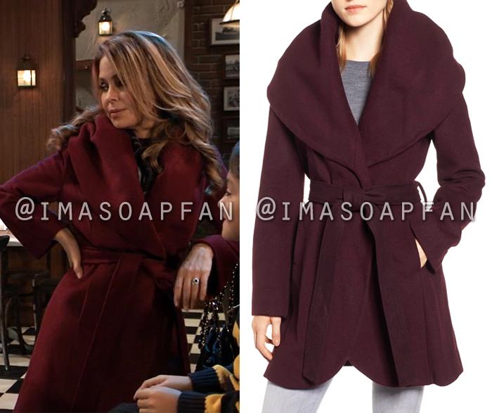 Olivia Quartermaine, Lisa LoCicero, Belted Purple Wrap Coat, General Hospital, GH