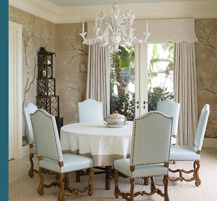 Blue De Gournay And Gracie Wallpapered Dining Rooms The