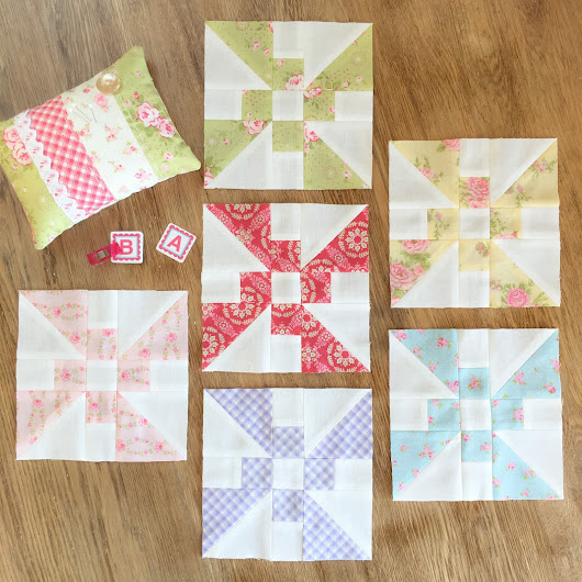 July Propeller blocks: Patchwork Quilt Along with Fat Quarter Shop